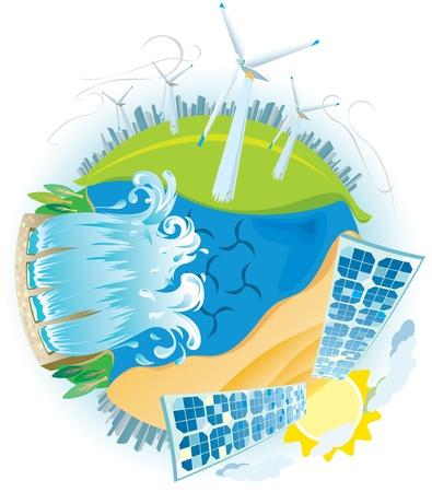 ECO Ökostrom Planeten Vektorgrafik