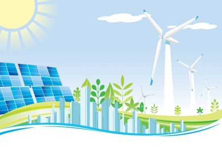 wind turbine: Eco power city Illustration