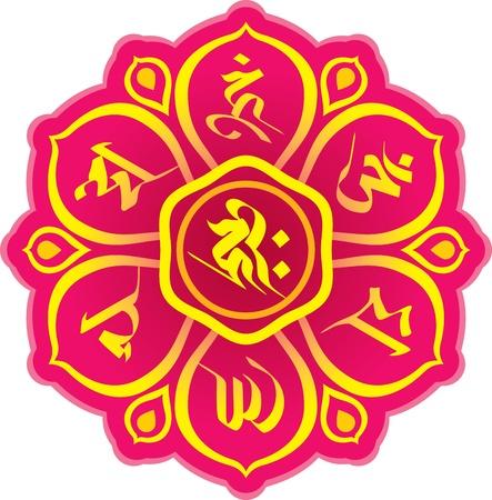 티베트 불교에 대한 서명 단어를기도 일러스트