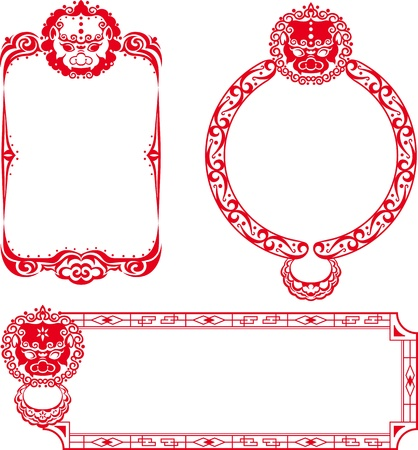 Chinese Lion border illustrations - the center space area for the designer to fill the message