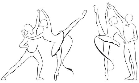 theatrical dance: Ballet dance partners, 2 x Ballerina in action Illustration