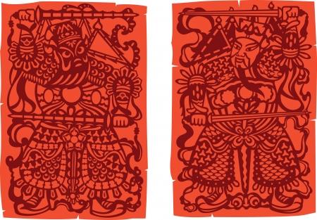 문의 예술 - 중국어 경비원 그림
