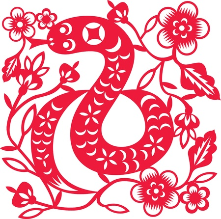 Chinese year of Snake made by traditional chinese paper cut arts Stock Vector - 14841844