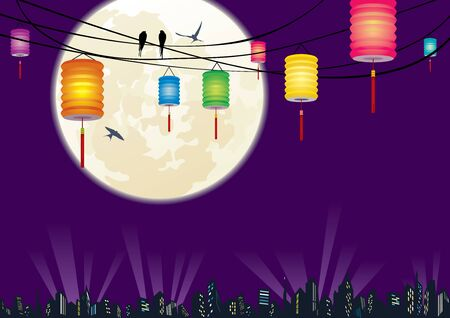 The Chinese Mid-autumn festival city night scene background and hanging lanterns decoration Vector