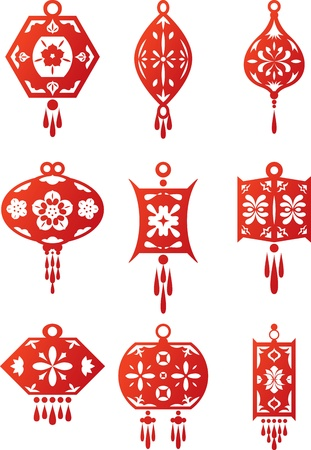 Chinese contemporary design lanterns set 9 different designs oriental traditional style lanterns Vector