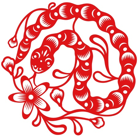 Chinese year of Snake made by traditional chinese paper cut arts Vector