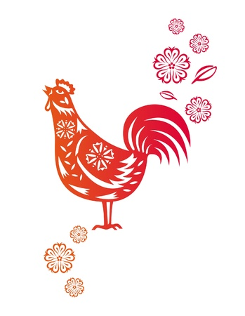 new year s eve: Chinese year of Rooster made by traditional chinese paper cut arts Illustration