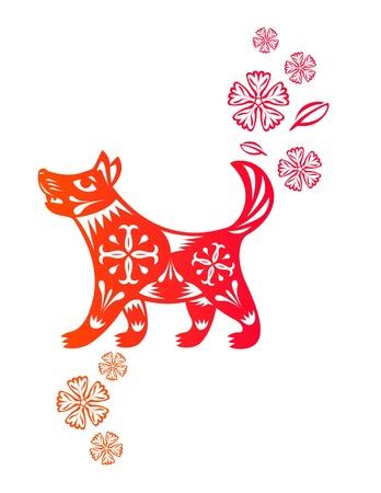 중국 전통 종이로 만든 개 강아지의 중국 년도 예술을 잘라