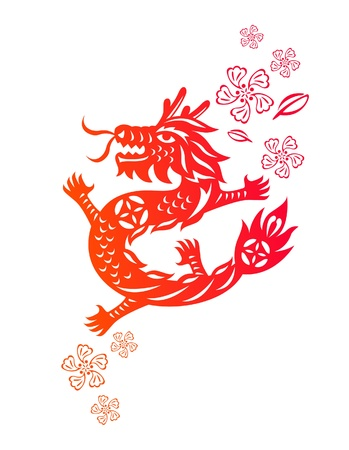 Chinese year of Dragon made by traditional chinese paper cut arts Stock Vector - 15220121