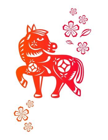 중국 전통 종이로 만든 말의 중국 년도 예술을 잘라