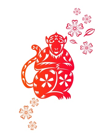 Chinese year of Monkey made by traditional chinese paper cut arts Vector