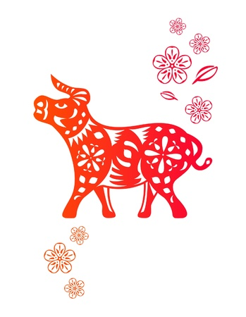 Chinese year of OX  Cow  made by traditional chinese paper cut arts Stock Vector - 15220078