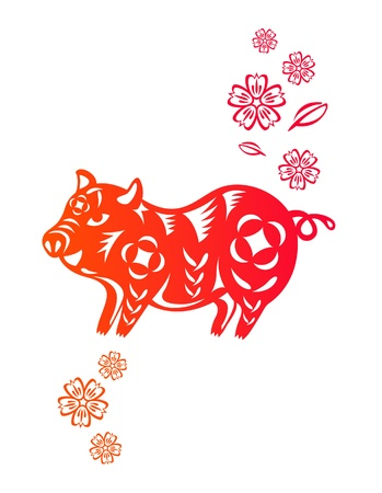 Chinese year of Pig made by traditional chinese paper cut arts Stock Vector - 15220076