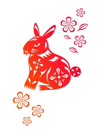 Chinese year of Rabbit made by traditional chinese paper cut arts Stock Vector - 15220104