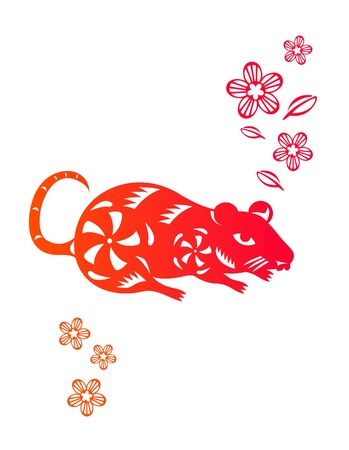 Chinese year of Rat made by traditional chinese paper cut arts Stock Vector - 15220081
