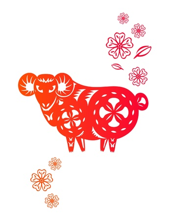 new year s eve: Chinese year of Sheep  Lamb  made by traditional chinese paper cut arts Illustration