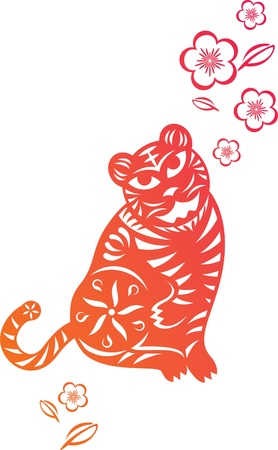 chinese astrology: Chinese year of Tiger made by traditional chinese paper cut arts Illustration