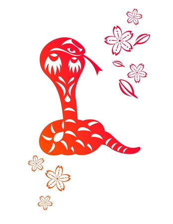 Chinese year of Snake made by traditional chinese paper cut arts Stock Vector - 15220075