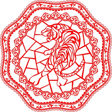 Chinese year of Tiger made by traditional chinese paper cut arts Tiger and other drawing are on different layers Stock Vector - 15220063