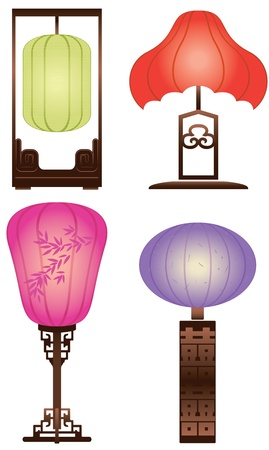 Chinese Antique Table Lamp Stock Vector - 15220050