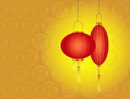 Chinese New Year day - Red lanterns, Space area  Left  for you to put some lucky message Stock Vector - 15220131