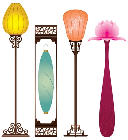 Chinese Antique Floor Lamp Stock Vector - 15220059