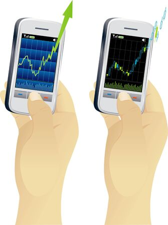 handheld device: Growth graph on screen of handheld device Illustration