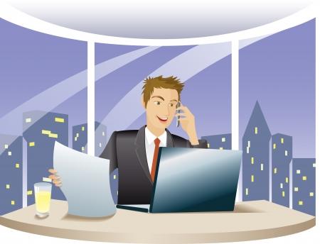 사무실에서 밤에 전화, 직장에서 컴퓨터와 대화를 사용하여 재정 고문