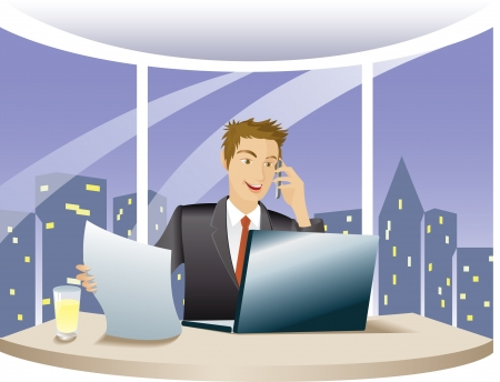 standardiste: Conseiller financier utilisant l'ordinateur et parler au t�l�phone, travailler de nuit dans le bureau de Illustration