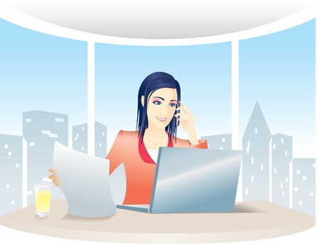 Business woman talking on the cell phone and looking at the laptop computer in the office Vector