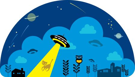 kidnapper: UFO spaceship attack the cat in the city