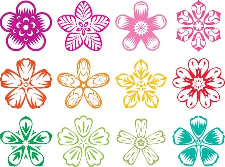 flores chinas: Elementos del vector en el estilo de las tradicionales flores japon�s  chino estableci� ilustraci�n