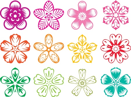 plum blossom: Vector elements in the style of traditional Japanese  Chinese Flowers set illustration Illustration