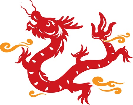 Chinese Style Dragon and cloud illustration Vector