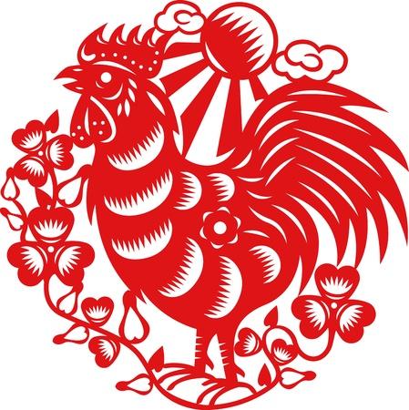 year of rooster: A�o chino del Gallo hecha por las artes tradicionales chinas de papel cortadas