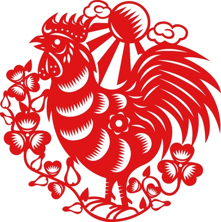 Chinese year of Rooster made by traditional chinese paper cut arts Stock Vector - 15520311