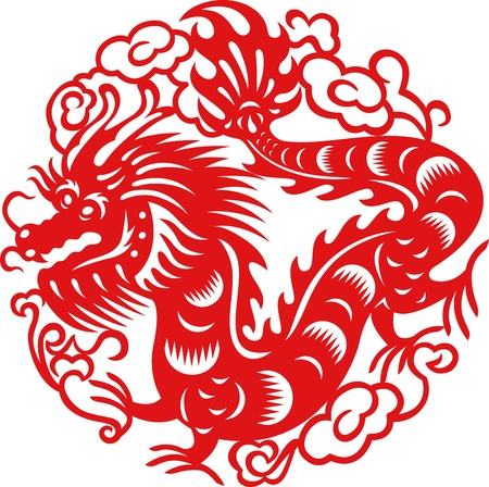 Chinese year of Dragon made by traditional chinese paper cut arts Illustration