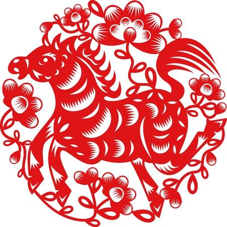 paper cut: Chinese jaar van het paard gemaakt door de traditionele Chinese papier gesneden kunst