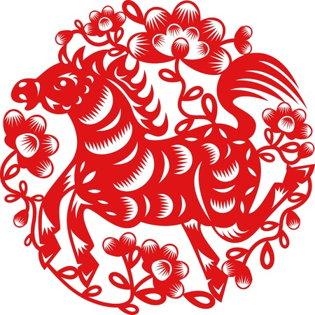Chinese year of Horse made by traditional chinese paper cut arts Vector
