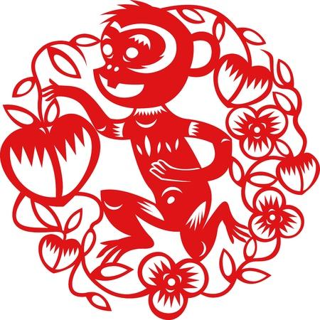 monos: A�o chino del mono hecha por las artes tradicionales chinas de papel cortadas Vectores