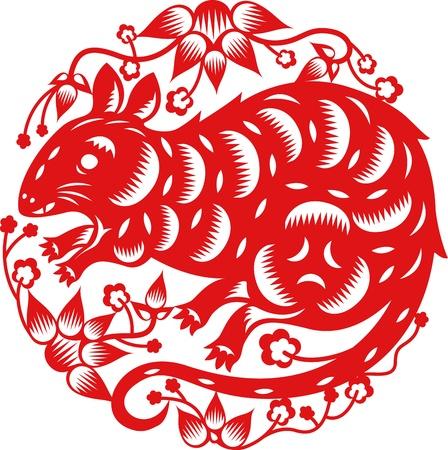 중국 전통 종이로 만든 쥐의 중국 년도 예술을 잘라 일러스트