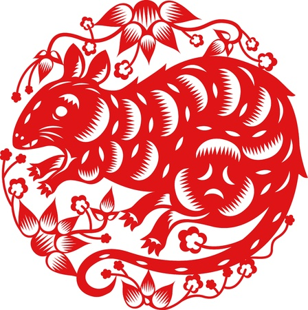 year of rat: Chinese year of Rat made by traditional chinese paper cut arts Illustration