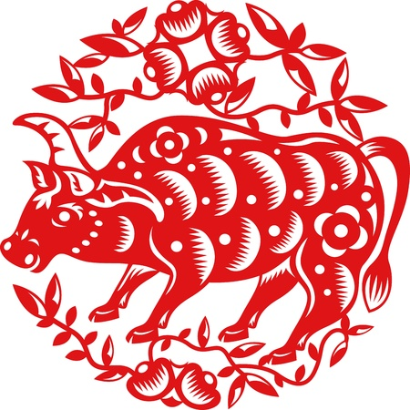 Chinese year of OX  Cow  made by traditional chinese paper cut arts Vector