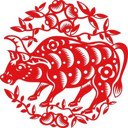 buey: El año chino de la vaca OX hecho por el papel chino tradicional cortó artes