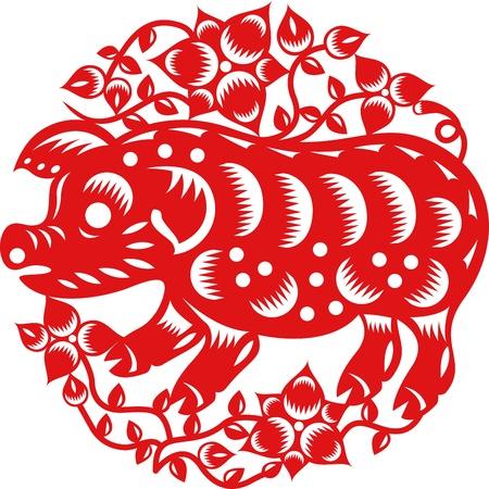 paper cut: Chinese jaar van het varken gemaakt door traditionele Chinese papier gesneden kunst Stock Illustratie