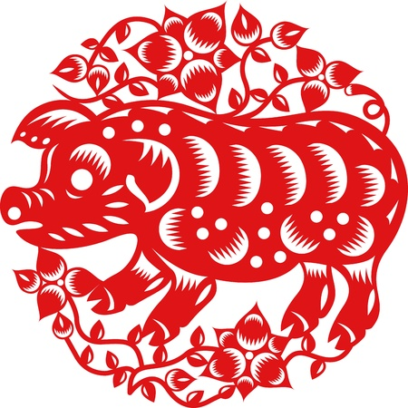 chinese pig: Chinese year of Pig made by traditional chinese paper cut arts