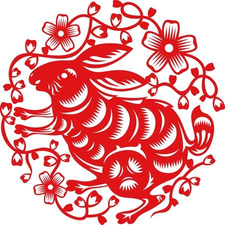 중국 전통 종이로 만든 토끼의 중국 년도 예술을 잘라