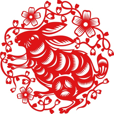 year of the rabbit: Chinese year of Rabbit made by traditional chinese paper cut arts