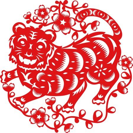 중국 전통 종이로 만든 호랑이의 중국 년도 예술을 잘라