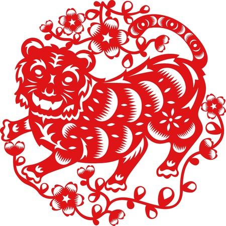Chinese year of Tiger made by traditional chinese paper cut arts Vector